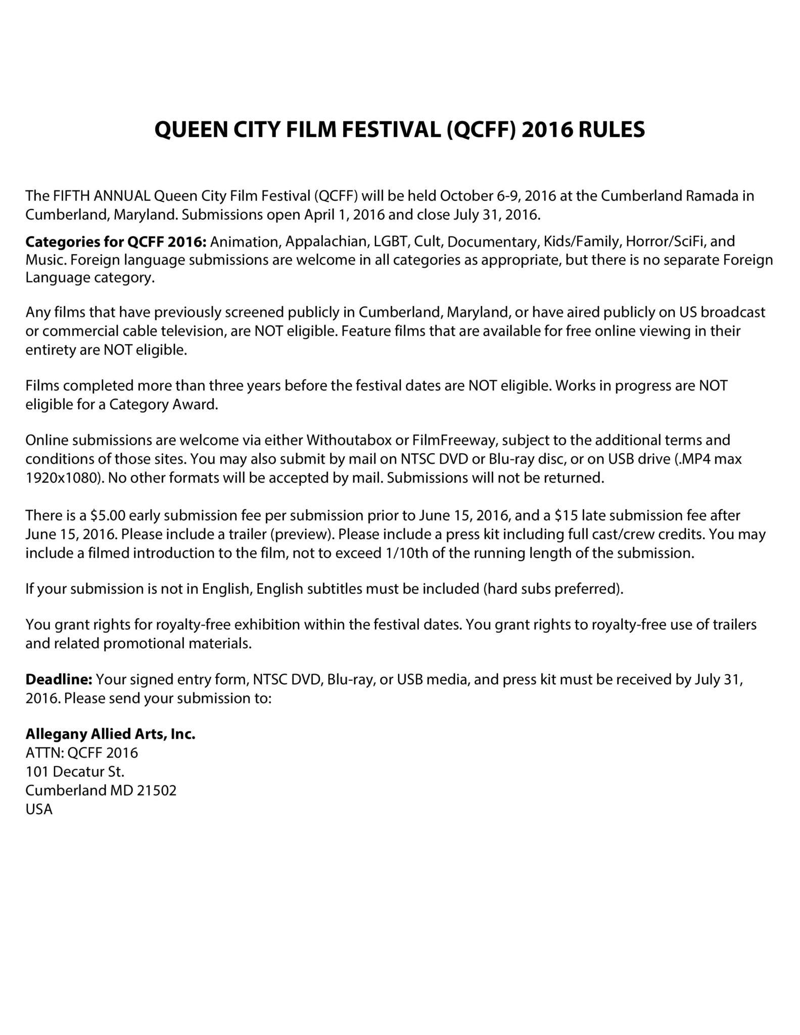 QCFF 2016 Rules